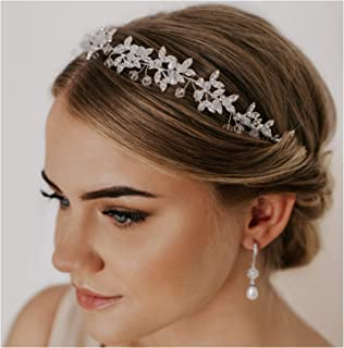 SWEETV Silver Rhinestone Wedding Headband Tiara Crystal Headpiece Bridal Hair Accessories for Bride Women