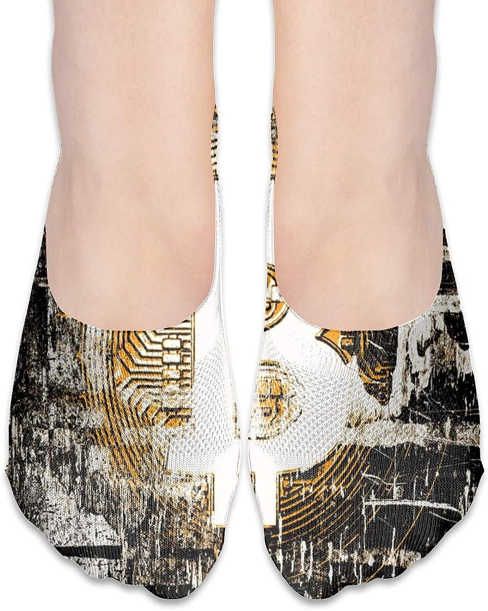 No Show Socks Women Men For Retro Bitcoin Bit Coin Flats Cotton Ultra Low Cut Liner Socks Non Slip
