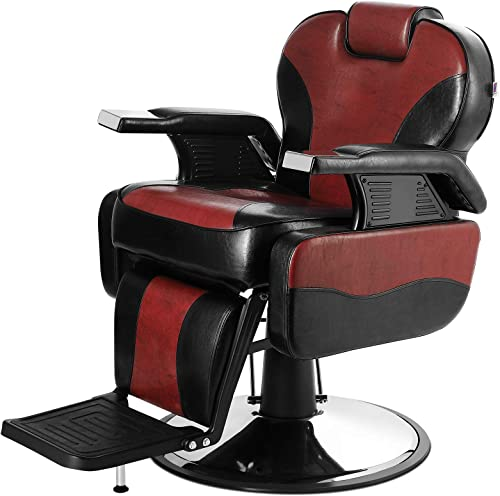 2021 Artist Hand Barber outlet online sale Chair Hydraulic Reclining Barber Chairs Heavy Duty Salon Chair for Hair Stylist discount Tattoo Chair Salon Equipment (Red,Black) sale