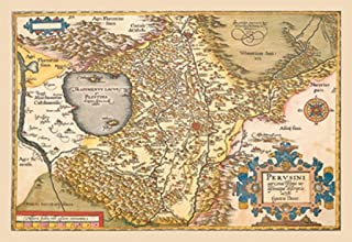 ArtParisienne Perusini Map of Italy Near Florence Abraham Ortelius 12x18 Poster Semi-Gloss Heavy Stock Paper Print