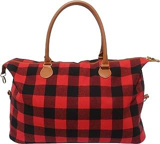 Buffalo Plaid Weekender Travel Bags Duffel Tote Bag Overnight Traveling Bag (Red Buffalo Plaid)