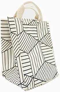 TIBAOLOVER Lunch Bag,Non-Toxic Eco-Friendly Canvas Fabric Insulated Waterproof Aluminum Foil, Lunch Box Tote for Women,Students Bento Cooler Bag for Travel and Picnic(Geometric Pattern-White)