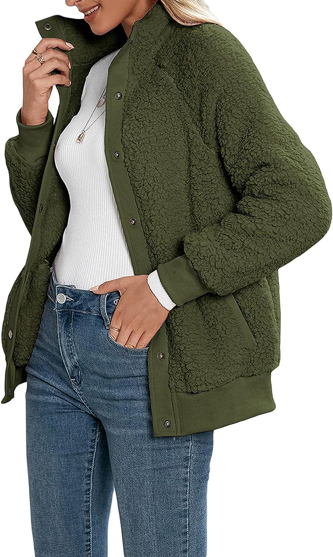 JLKGICF Women Winter Warm Fleece Jacket Faux Fuzzy Long Sleeve Button Down Shaggy Coat with Pockets (Green,Medium)