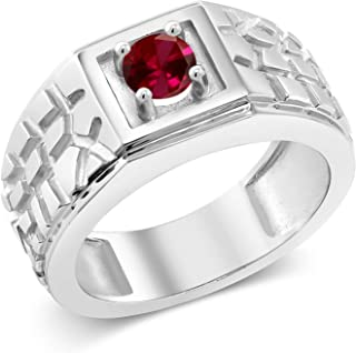 Gem Stone King 0.60 Ct Round Red VS Created Ruby 925 Sterling Silver Men's Solitaire Ring