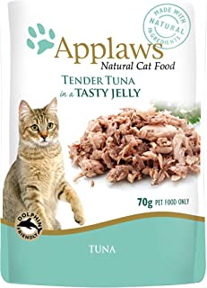 Applaws Tuna Natural Wet Cat Food in Jelly - 70 g pouches, complementary food for adult cats, pack of 16