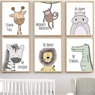 MAQ Baby Jungle kwekerij muurdecoratie kunstfoto's, 30x21cm ongekaderde Cartoon Safari Animal muur muurschilderingen/Poste...