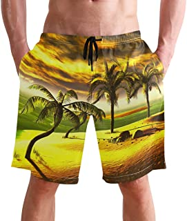 Beach Shorts, Palm Hawaiian Style Printed Mens Trunks Swim Short Quick Dry with Pockets for Summer Surfing Boardshorts Out...