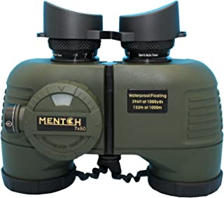 Mentch 7 x 50 HD wasserdichtes Militärfernglas mit internem Entfernungsmesser und Kompass für Wassersport, Jagd, Vogelbeobachtung, Bootfahren und mehr (Armeegrün)