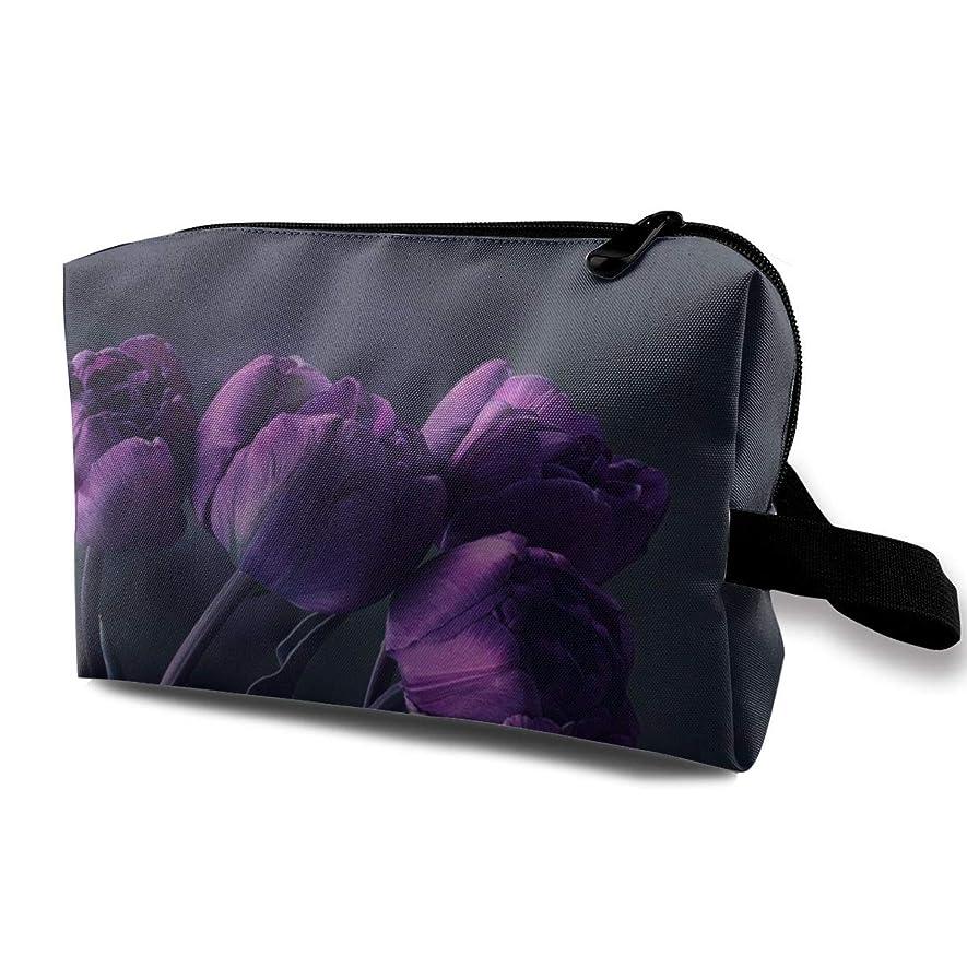 環境に優しいスクランブルわなDark Purple Tulip Flower 収納ポーチ 化粧ポーチ 大容量 軽量 耐久性 ハンドル付持ち運び便利。入れ 自宅?出張?旅行?アウトドア撮影などに対応。メンズ レディース トラベルグッズ