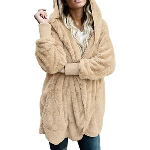 Dokotoo Womens Fuzzy Open Front Hooded Cardigan Jacket Coat Outwear with  Pocket 78b3bbd8fe
