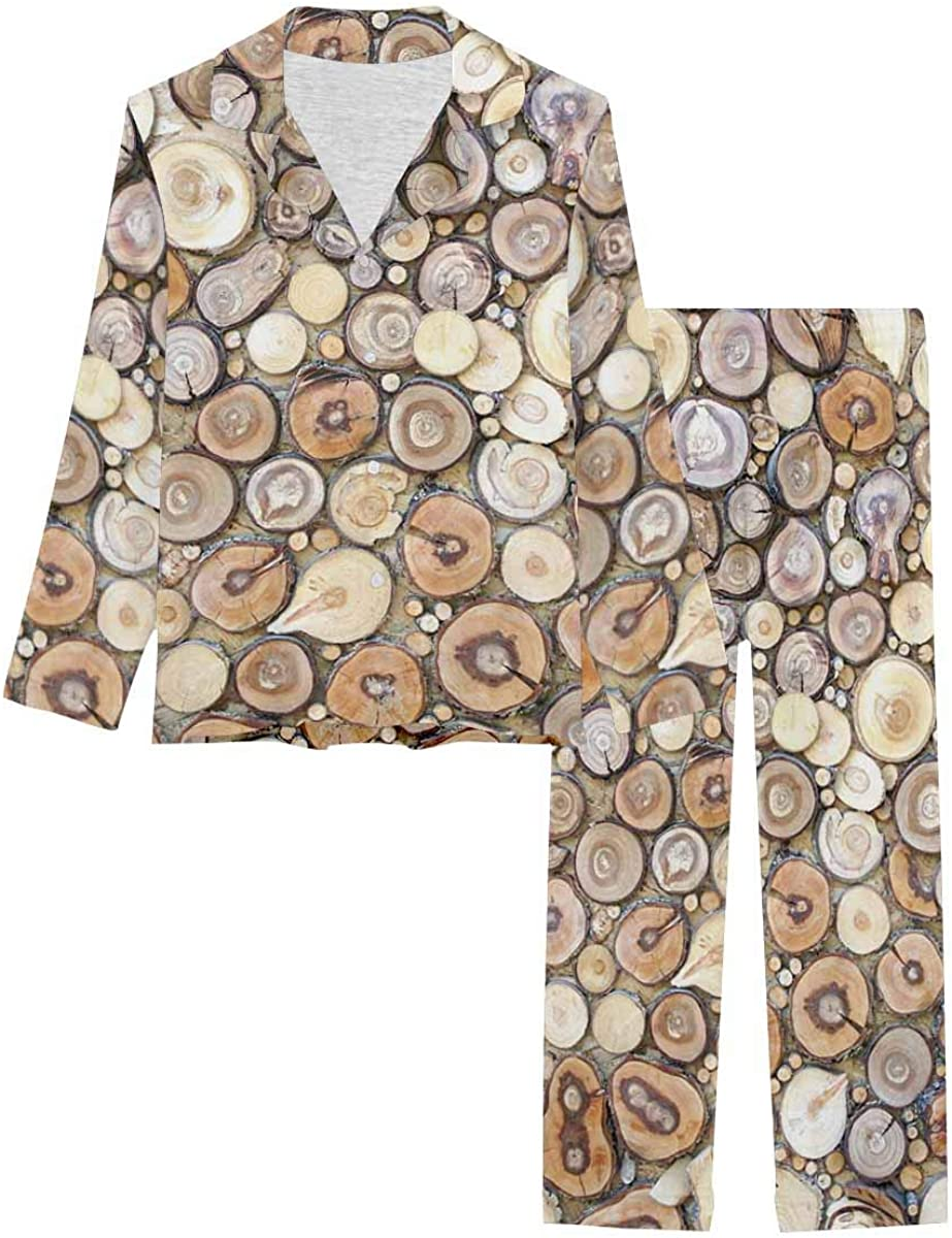 InterestPrint Sleepwear Button Down Loungewear with Long Pants The Texture of the Tree Rings