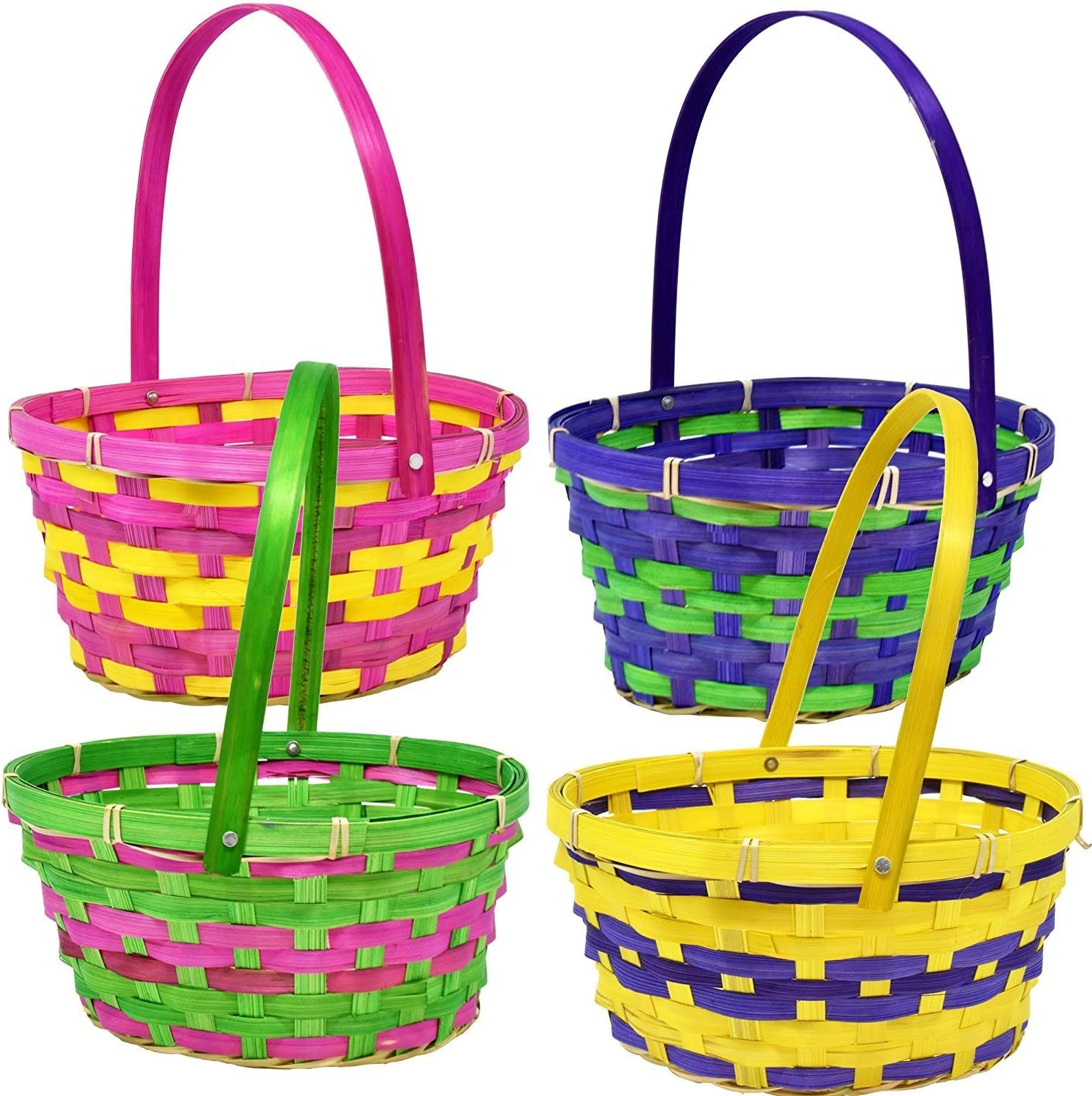Gift 開店祝い Boutique 12 Bamboo Easter Bright Round ☆最安値に挑戦 Baskets- Colo