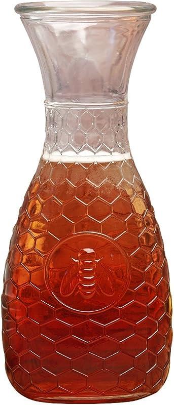 Circleware Garden Gate Honey Bee 1 Liter Glass Water Drink Pitcher Carafe