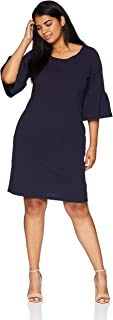 Tiana B Women's Plus Size Solid Crepe Sheath Dress with Angel Sleeves