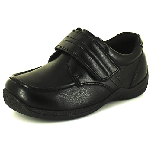 c0fcc20a1a15 New Younger Boys/Childrens Black Touch Fastening School Shoes. - Black - UK  Sizes