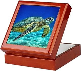 CafePress Sea Turtle Keepsake Box, Finished Hardwood Jewelry Box, Velvet Lined Memento Box