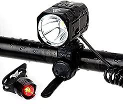 BYBOO Waterproof Bike Bicycle Cycling Front Head Lights Set USB Rechargeable Cree XM-L2 LED Headlight Headlamp 1200 Lumens 18650 Battery 4400mAh Tail Light