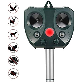 ZOVENCHI Solar Powered Ultrasonic Animal Repeller,Waterproof Outdoor Animal Repeller with Ultrasonic Sound and Flashing Light,Activated by Motion-Very Effective for Cats,Dogs,Squirrels,Moles,Rats