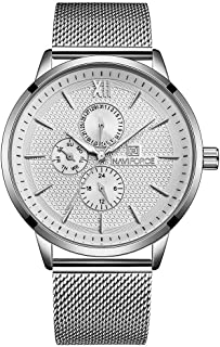 Naviforce Men's Silver Dial Stainless Steel Mesh Analogue Classic Watch - NF3003-SW