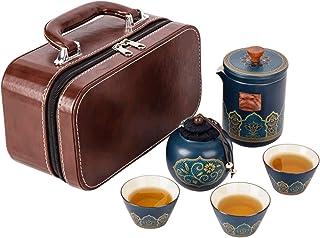 Service à thé de voyage portable avec valise, mini théière en porcelaine, 3 tasses à thé et 1 boîte à thé, service à thé c...