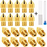 LUTER 20PCS 0.4mm 3D Printer Nozzles Extruder Nozzles for MK8 + 5 PCS Stainless Steel Nozzle Cleaning Needles for Makerbot Creality CR-10