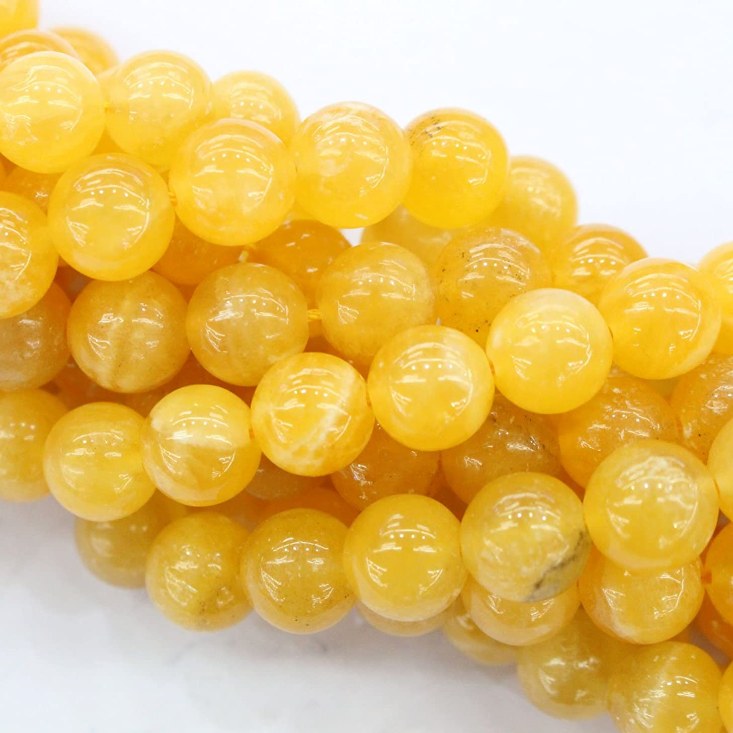 Natural Color Genuine Yellow Calcite Round Gemstone Jewelry Making Loose Beads (10mm)