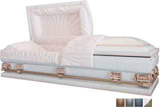 white and pink casket