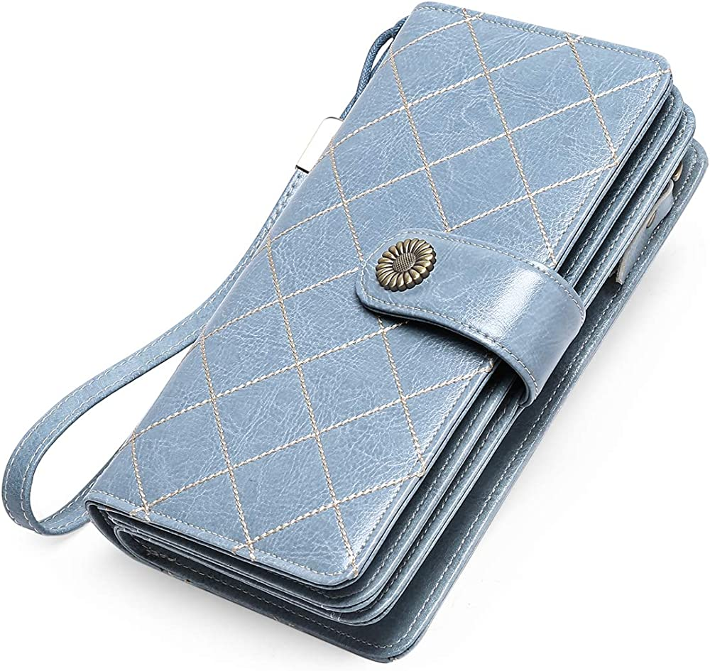 Btneeu portafoglio in pelle per donna porta carte di credito protezione rfid rosso2 Blu L