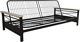 DHP Nadine Metal Futon Frame with Natural Wood Armrests, Full Size, Mattress Not Included