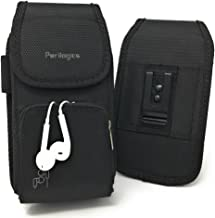 Perilogics Belt Holster for iPhone 11, 11 Pro Max, Xs Max, Xr, 8 Plus with Armor Type Phone Cases. Strong Velcro Closure with Dual Directional Zipper Storage and Credit Card Pocket. (Black/Velcro)