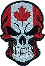 SpaceCar Skull Head w/Flag of Canada Military Tactical Morale Badge Hook Loop Fastener Patch 3.54