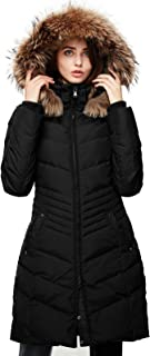 Women's Down Jacket Winter Long Parka Coat with Raccoon Fur Hooded
