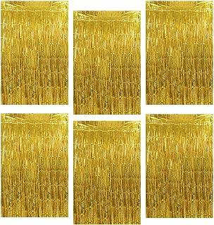 GoMaihe Cortinas Fiesta de Oropel 6 Piezas, 1m x 2m Metálico Foil Fringe Cortina, Brillo Cortina de Borla, Fiesta Boda Curtains Cumpleaños Navidad Decoración Cortinas Telón de Fond