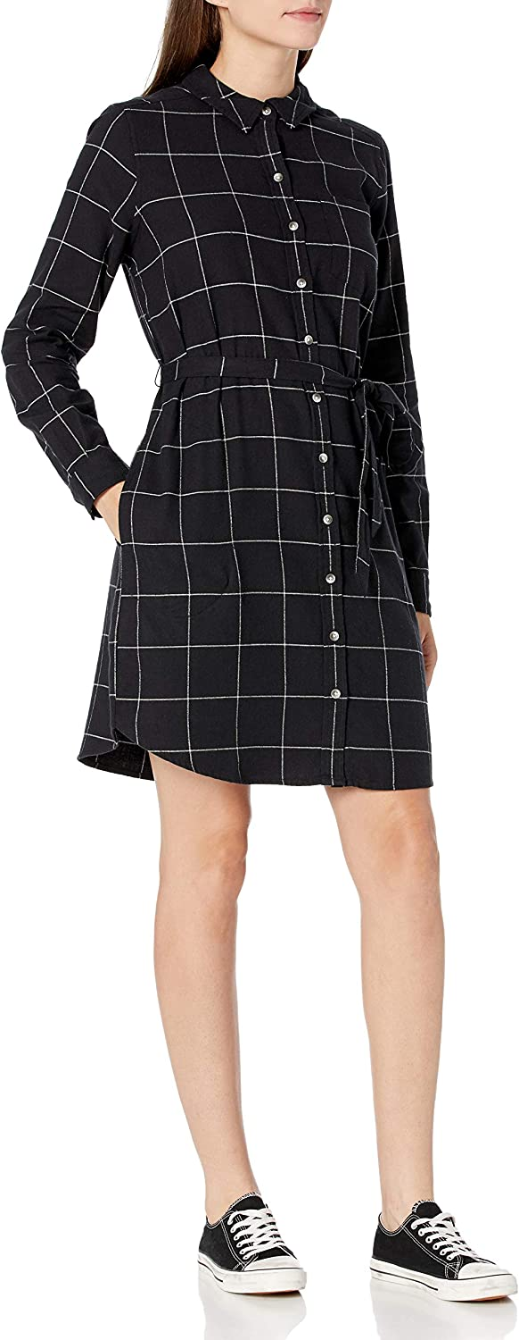 Amazon Brand - Goodthreads Women's Flannel Relaxed Fit Belted Shirt Dress