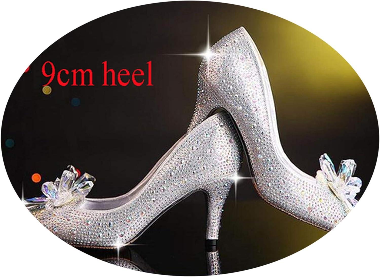 Rhinestone High Heels Cinderella Pumps Pointed toeCrystal Wedding shoes 5cm 7cm 9cm Heel