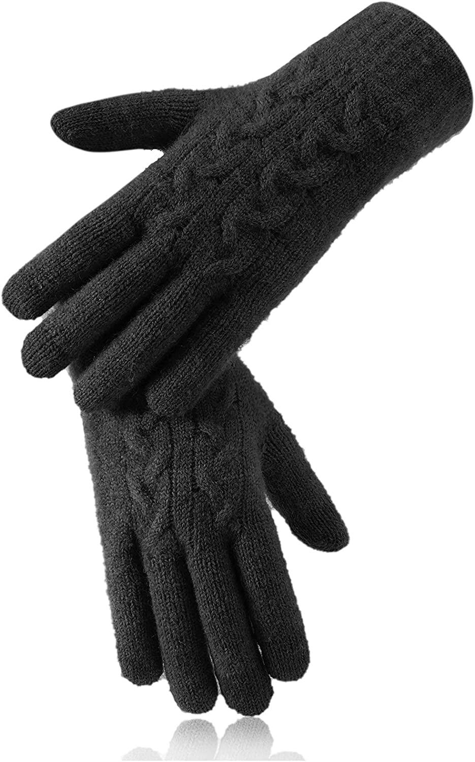 Reach Star Winter Gloves for Women, 3-Finger Touch Screen Dual-Layer Cashmere Lining Gloves