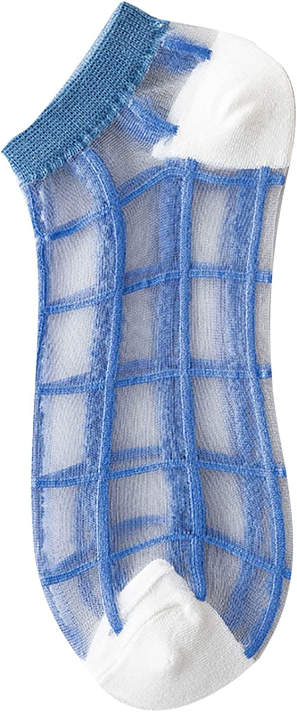 Womens Mesh Princess Socks Breathability Patchwork Thin Socks Comfty Stockings Thin Tube Glass Socks
