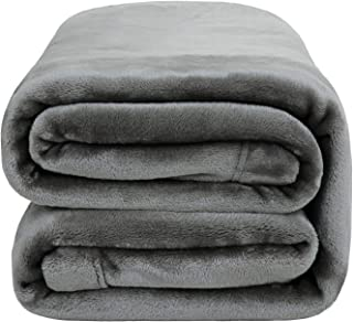Bedsure Flannel Fleece Blanket - King Blanket 108x90 inches, Light Grey - Soft, Plush, Warm Blanket for Winter, Thick Blanket for Couch Sofa Bed Traveling - Reversible Bed Blankets