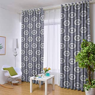 Andrea Sam Black Curtains Geometric,Pale Toned Hexagon Shapes with Floral Elements Japanese Culture Inspired Pattern, Grey White,W104 by L84 Inch for Bedroom Embroidery Curtain for Living Room