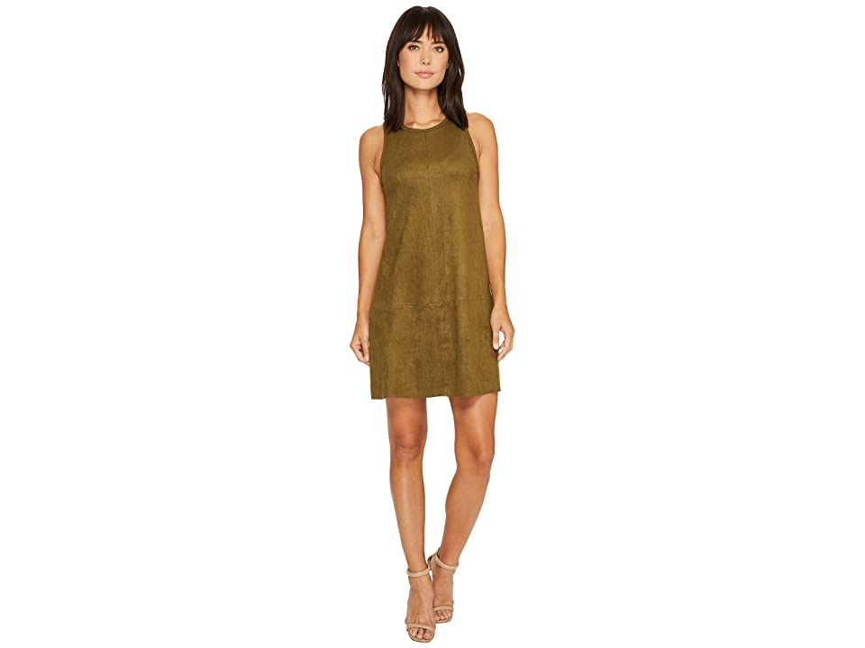 Karen Kane Faux Suede A-Line Dress (Sage) Women