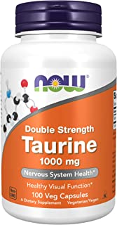 NOW Supplements, Taurine 1,000 mg, Double Strength, Nervous System Health*, 100 Veg Capsules