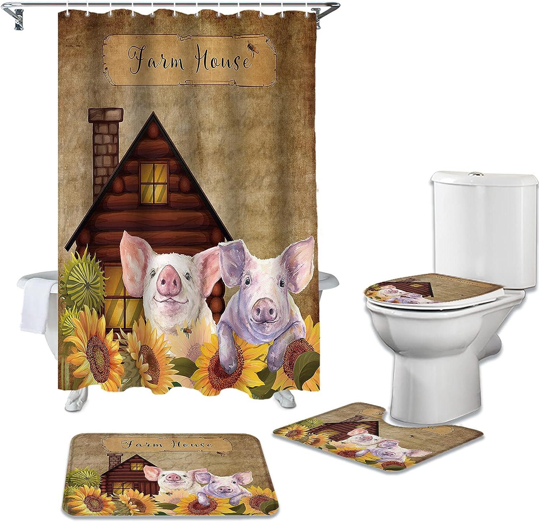 ZL Home 4 Piece Bathroom Set Overseas parallel import regular item Pig Wood Barn Sale SALE% OFF Sunflower Farmhouse