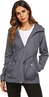 Sponsored Ad - ZHENWEI Rain Jacket Women Waterproof with Lined Raincoat Outdoor Active Travel Hiking
