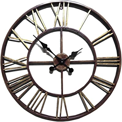 Komo Exposed classic retro mute Stunning Roman metal decorated living room iron large Wall Clock metal