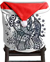 Ladninag Christmas Santa Claus Chair Back Cover Drawn Elephant Baby Xmas Red Hat Cat Chairs Slipcovers for Kitchen Dinner Table Party Home Decor Room Holiday Festive 1 Piece