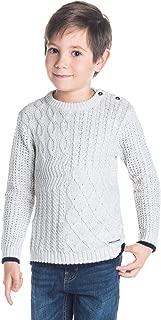 Cherry Crumble California Kids Boy's Cotton Blend Solid Winter Sweater (Light Grey, 12-18 Months)