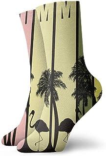 tyui7, Summer Palms Flamingo Beach Calcetines de compresión antideslizantes Cosy Athletic 30cm Crew Calcetines para hombres, mujeres, niños