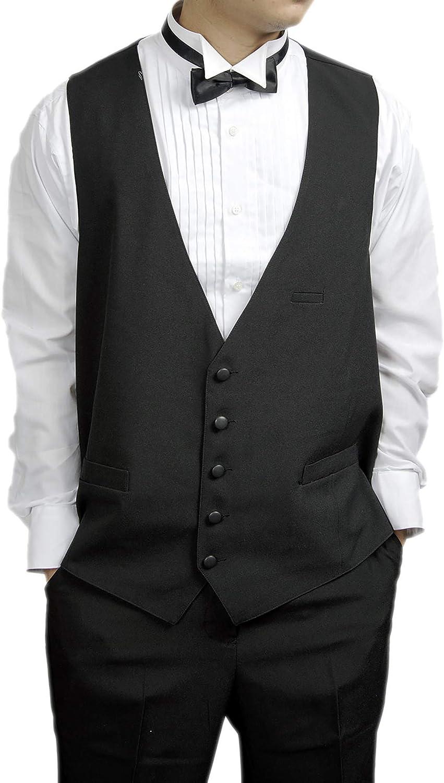 Broadway Tuxmakers Mens 100% Wool Black 5 Button Tuxedo Vest