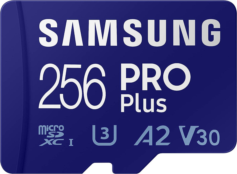 SAMSUNG PRO Plus + Adapter 256GB microSDXC Up to 160MB/s UHS-I, U3, A2, V30, Full HD & 4K UHD (MB-MD256KA/AM)