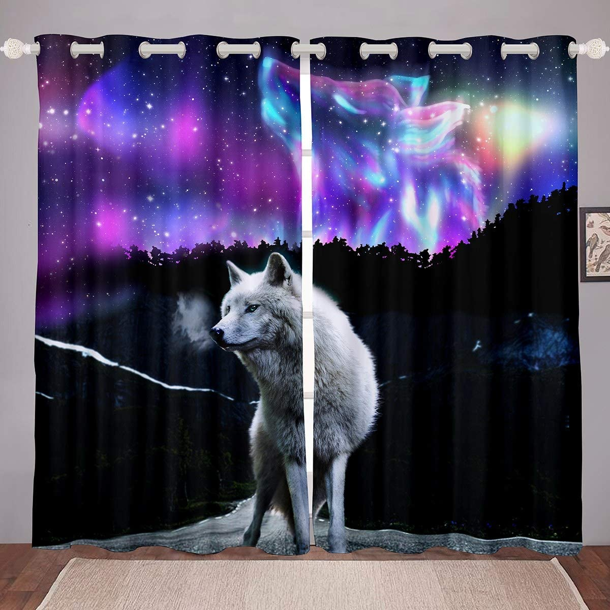 Feelyou Wolf Curtains Galaxy In a popularity Space Cool Bedroom Curtain Outstanding for